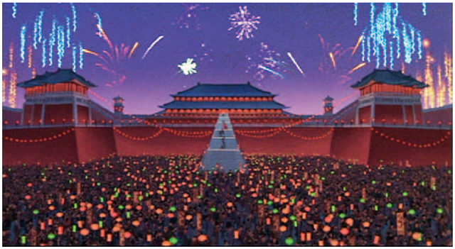 Disney's Mulan.The palace scene used 2D animation, crowd placement in Maya, 3D fireworks, and compositing software to create this hybrid shot.
