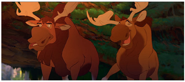Broose Johnson and Tony Stanley animated the antlers in 3D to match their 2D moose animation. The 3D animation was then used as a template and redrawn in 2D.