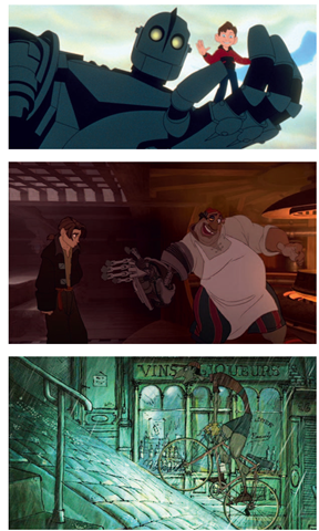 Hybrid or 2D/3D animation examples can be found in many films, such as Iron Giant, Triplets of Belleville, and Treasure Planet.
