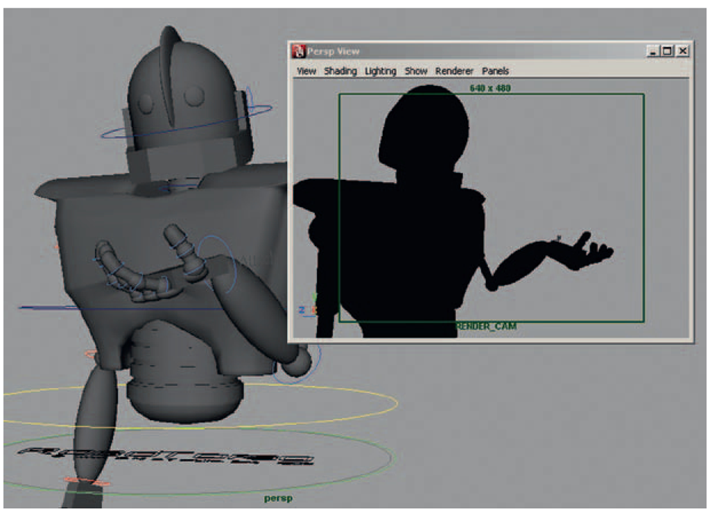 A torn-off Render_Cam Panel, which we will use to check our silhouettes as we animate in the Perspective view.