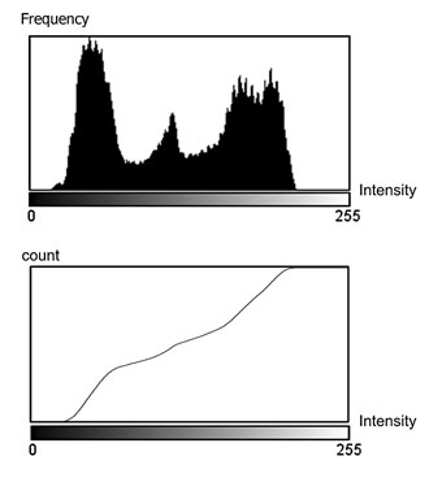 An example of a cumulative histogram. Notice how the tall bins in the ordinary histogram translate into steep slopes in the cumulative histogram