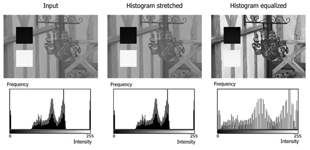 The effect of histogram stretching and histogram equalization on an input image with both very high and very low pixel values
