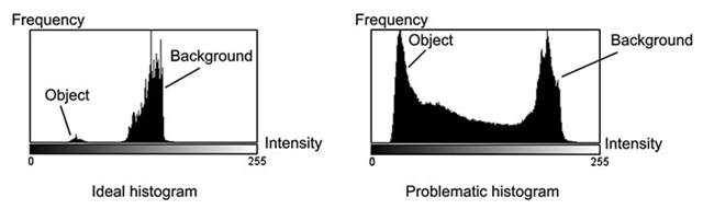 Ideal histogram: a clear definition of object and background. Problematic histogram: the distinction between the object and the background is harder, if not impossible