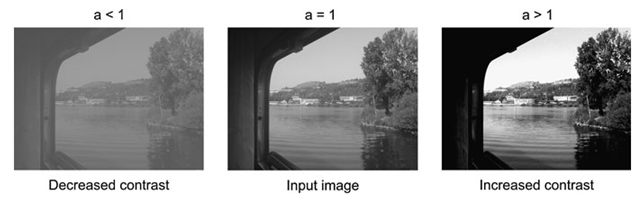 If a in Eq. 4.2 is one, the resulting image will be equal to the input image. If a is smaller than one then the resulting image will have decreased contrast, and if a is higher than one then the resulting image will have increased contrast
