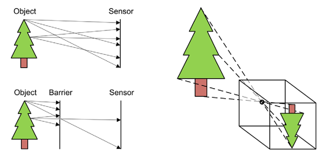 Before introducing a barrier, the rays of light from different points on the tree hit multiple points on the sensor and in some cases even the same points. Introducing a barrier with a small hole significantly reduces these problems