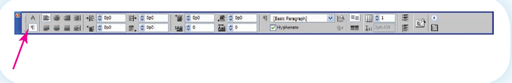 The paragraph symbol on the InDesign text Control palette indicates these options are used for formatting paragraphs.