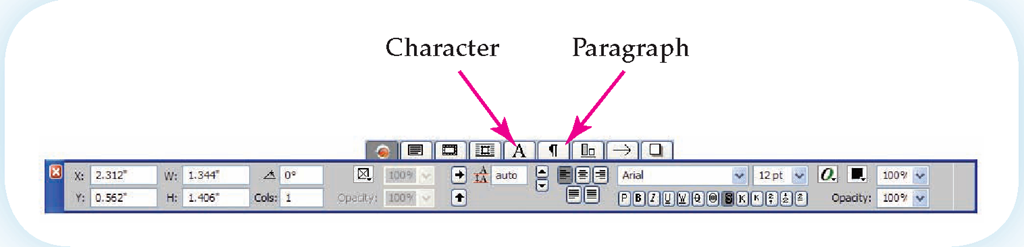 The QuarkXPress Measurement palette provides options identifiable by their icons.