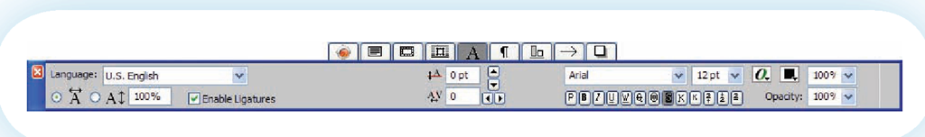 The QuarkXPress character palette provides options specifically related to character formatting.