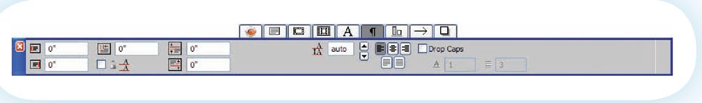 The QuarkXPress paragraph palette restricts you to paragraph formatting choices.