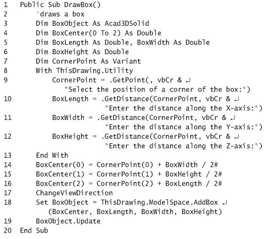 Listing 15.3: DrawBox Macro