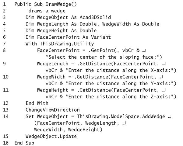 Listing 15.4: DrawWedge Macro