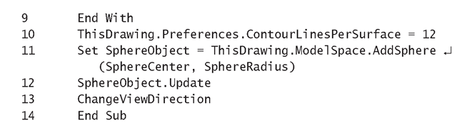 Listing 15.5: DrawSphere Macro