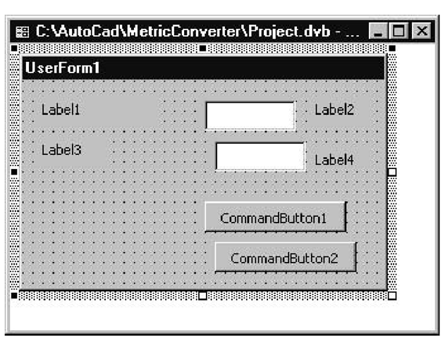 GUI for the Metric-Imperial Converter application before any properties have been updated