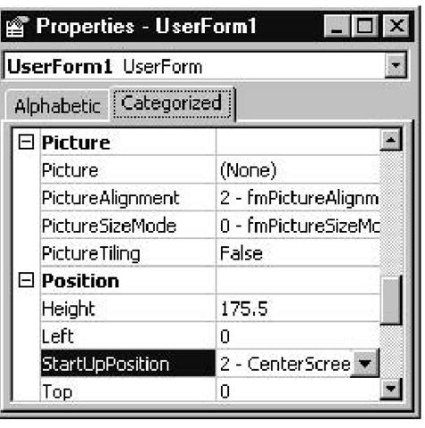 Properties window Categorized tab