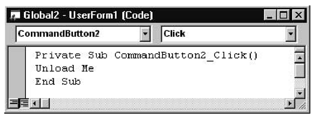 The Code Window showing the CommandButton2_Click event procedure