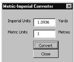 The finished version of the Metric-Imperial Converter application's GUI with the captions set