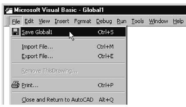 The File menu option for saving a VBA project that has never before been saved