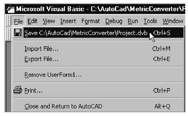 The File menu option for saving a VBA project that's been saved previously