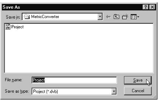 The Save As dialog box, ready to save your project to the .DVB file of your choice