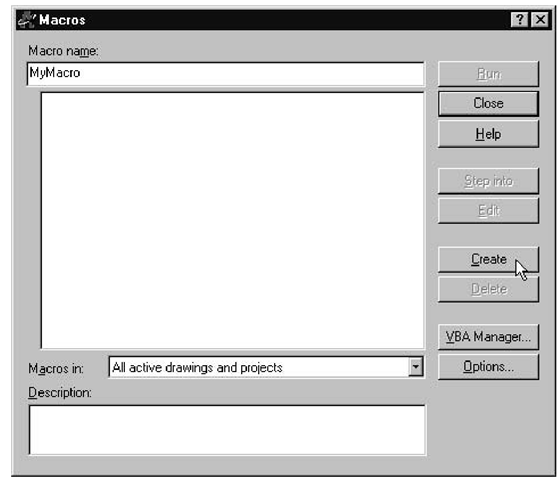Macros dialog box in AutoCAD
