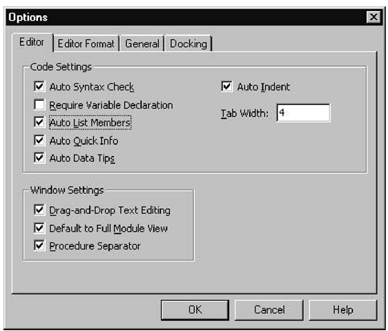 Editor settings in the Options dialog box