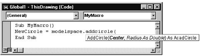 List of parameters required by the AddCircle function