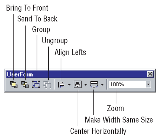 The UserForm toolbar