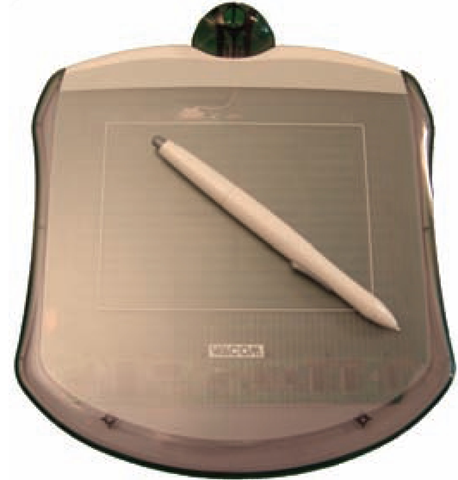 Drawing tablets such as this Wacom can be used instead of a mouse to draw digital images.