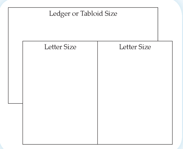 Ledger paper is often used in landscape orientation to create newsletters (tabloids).