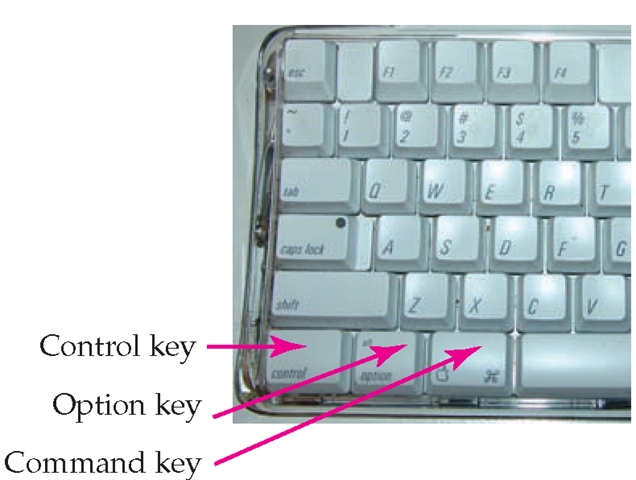 The Mac keyboard replaces the Ctrl and Alt keys with an Apple key and an Option key.