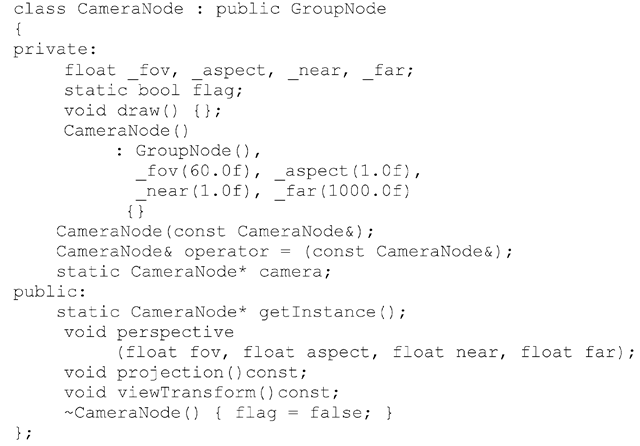 Listing 3.3 Class definition for a camera node