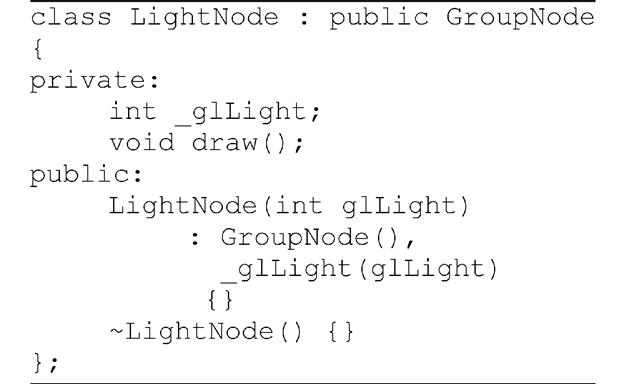 Listing 3.4 Class definition for a light node