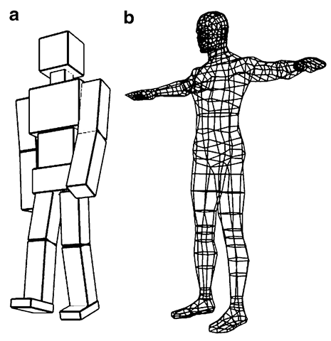 Character models constructed using (a) several component objects, and (b) a single mesh