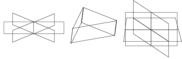Three different configurations in which three non-parallel planes can meet