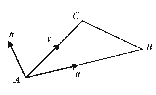 The normal vector and area of a triangle specified using vertex coordinates can be computed with the help of two vectors defined along the edges
