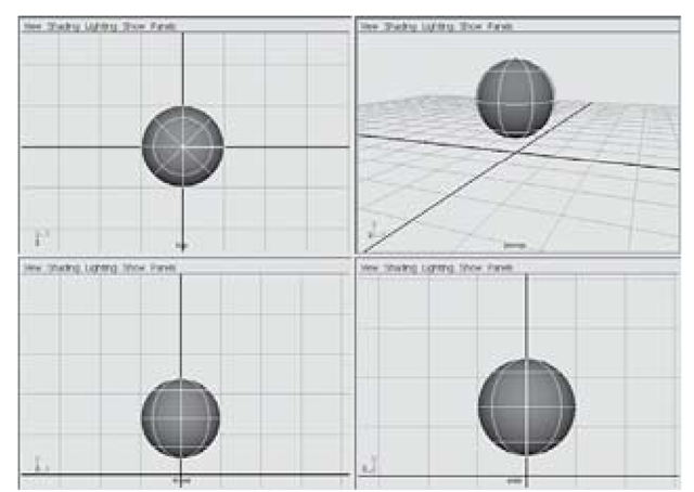 Sphere positioned above grid