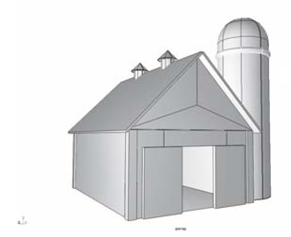 The finished barn model