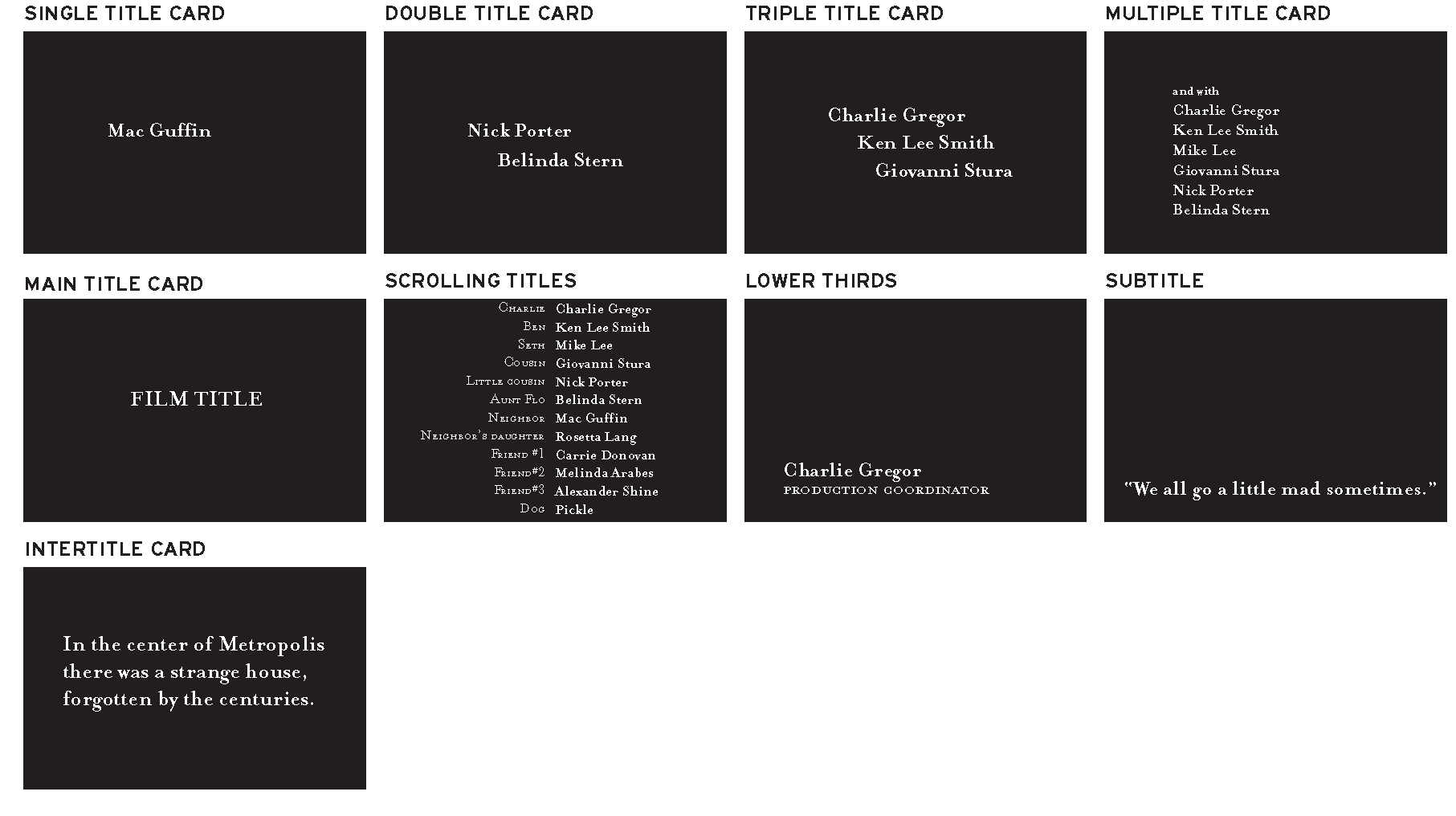 opening and closing titles (title sequences: function with form, Powerpoint templates