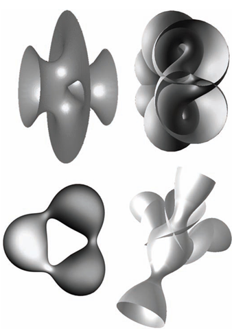 Examples of mathematical minimal surfaces.