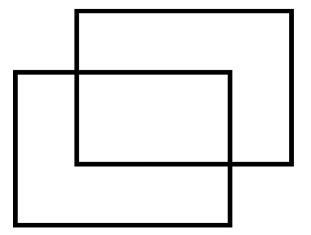 Two rectangles is a simpler interpretation than two concave hexagons.