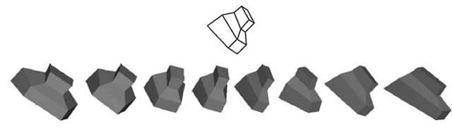 The shaded three-dimensional (3D) objects illustrate the one-parameter family of 3D shapes that are possible 3D symmetric interpretations of the line drawing shown on top.