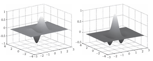 The real (left) and imaginary (right) parts of a Gabor filter, modeling simple cell receptive profiles.