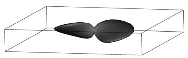The fundamental solution of the Fokker-Planck equation in the phase space. An isosurface of intensity is visualized.