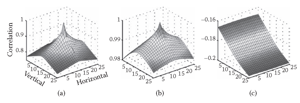 (a) Correlation between intensity at central pixel (13,13) and all of the pixels of the intensity patch. Note that pixel (1,1) is regarded as the upper-left corner of the patch. (b) Correlation between range at pixel (13,13) and the pixels of the range patch. (c) Correlation between intensity at pixel (13,13) and the pixels of the range patch. For example, correlation between intensity at central pixel (13,13) and lower-right pixel (25,25) was -0.210.
