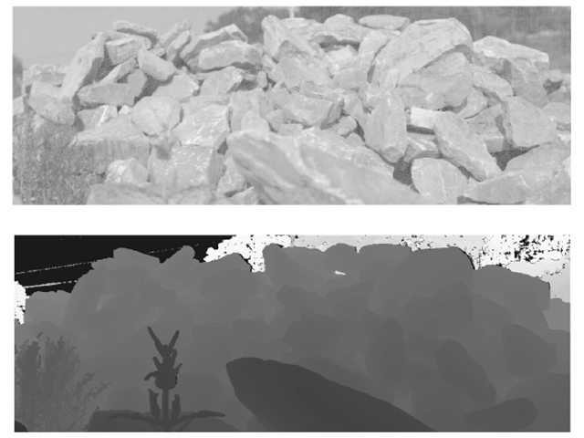 An example color image (top) and range image (bottom) from our database. For purposes of illustration, the range image is shown by displaying depth as shades of gray. Notice that dark regions in the color image tend to lie in shadow, and that shadowed regions are more likely to lie slightly farther from the observer than the brightly lit outer surfaces of the rock pile. This example image from our database had an especially strong correlation between closeness and brightness.