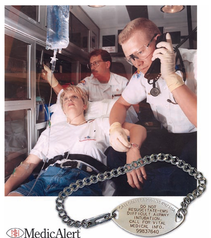 Emergency responders are required by law to check for MedicAlert or other emergency emblems as an indication of a nonresponsive victim's identity and past medical history This is a patient directive that legally allows EMS to access the person's stored medical information by calling the MedicAlert Foundation's 24-Hour Emergency Response Center (1-800-625-3780 or the collect number on the tag). Each MedicAlert member has a unique secure patient identifier on the emblem, as well as other vital information. Additional information is on file at MedicAlert. Shown at left is the MedicAlert symbol, which appears on the front of the tag. In addition to specific medical information, signed documents, such as a living will, can be faxed immediately to the emergency staff.