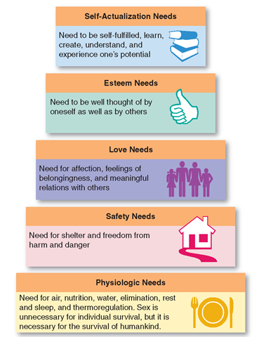 Hierarchy of needs. According to Maslow, basic physiologic needs, such as for food and water; must be met before a person can move on to higher-level needs, such as security and safety. Nursing is based on helping people to meet the needs they cannot meet by themselves because of age, illness, or injury.