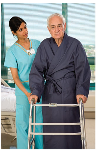 Security and safety needs can be met by helping the client ambulate using a walker. Notice how the nurse uses her body position and her arms to anticipate helping the client in case of loss of balance.