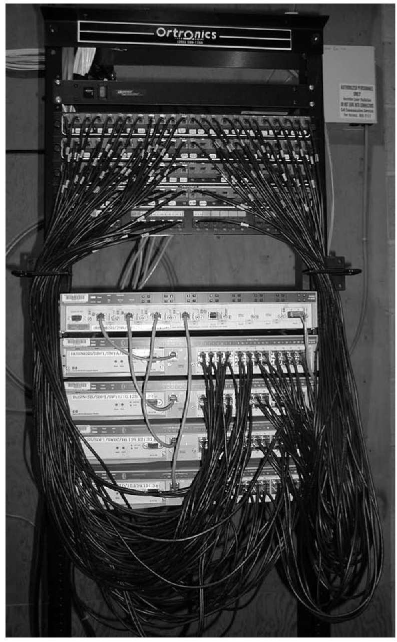 Backbone Network Architectures Data Communications And Networking Fiber Patch Panel Wiring Diagram An Mdf With Rack Mounted Equipment A Layer 2 Chassis Switch Six